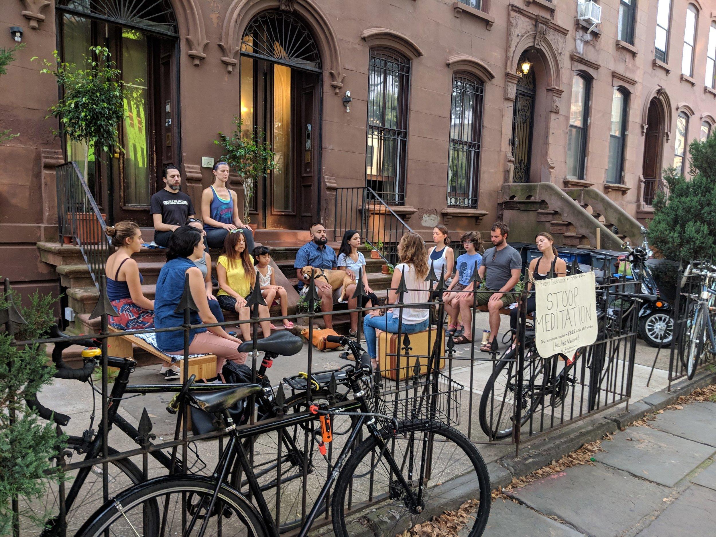 The Brooklyn Stoop - Free, No RSVP needed!June 6 - Oct 18, Every Thursday @ 7:30am - 8amLocation: 453 Washington Avenue, Brooklyn, NYStoop Meditation Teacher: Danielle Fazzolari, Founder