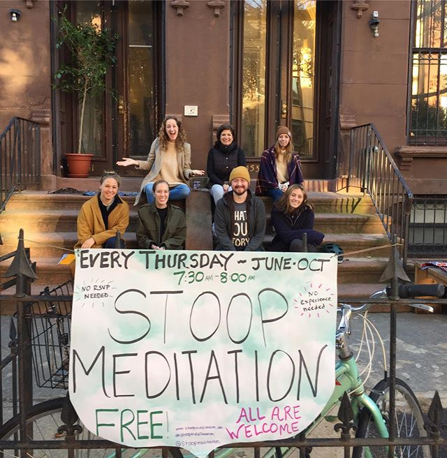 I can't believethis, but tomorrow (Thurs, 10/17) is the LAST Stoop Meditation gathering of the 3rd Stoop Season in Brooklyn! I'm an emotional one as I'm typing this.  We have spent the last 5 months meeting out on that stoop, bright and early at 7:30am, and going inward, together.  Talking about it all - from letting go of what no longer serves us, to courageously letting in and respecting our pain, our sadness, to singing our hearts song back to ourselves when we have forgotten, and back to one another…. to supporting each other on our journeys, and reminding ourselves that we are all part of this web of life and we need each and everyone of our souls to bring it to life. COME tomorrow! It's free, it's for all of us. . Come for thecoffee ☕️ (donated by @alwaysandforevercafe), come for the meditation 🙏, come for the community, come for the fresh air...whatever is calling to you - come for that. Trust that. This might be the last one on this actual stoop, and I'd be honored to see you tomorrow. Let's do this, my loves, my neighbors. See you in the morning!!!7:30am, 453 Washington Avenue, Brooklyn.  Goodnight, world 🌎 PS: 🌧 The rain will stop, this I know.  Xoxox