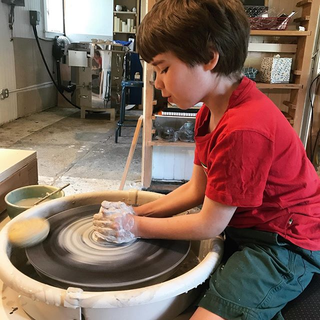 Love working in the studio with this guy. #thisisseven #inthestudio #ceramicswithkids