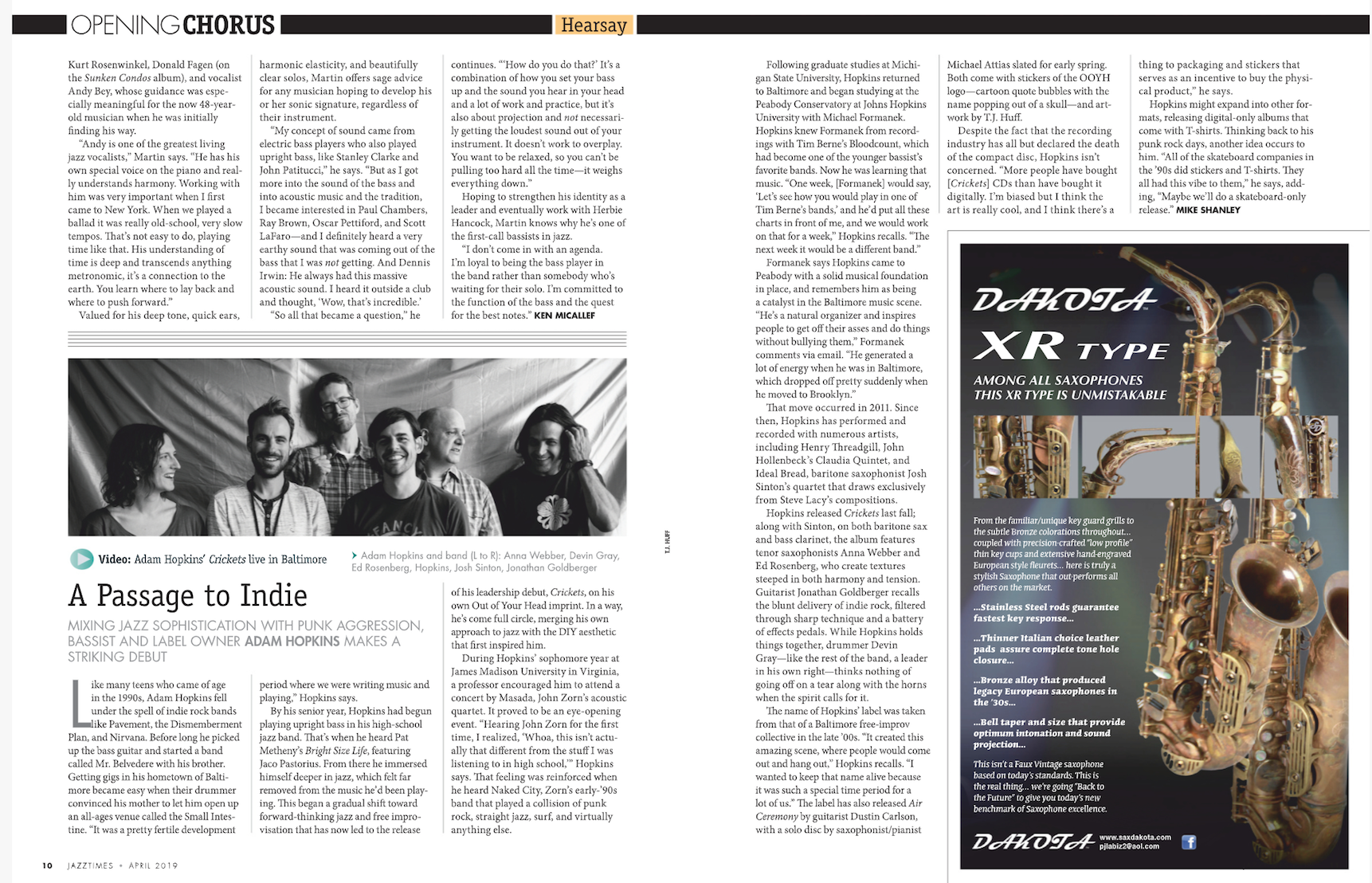 Link to article on JazzTimes available  here .