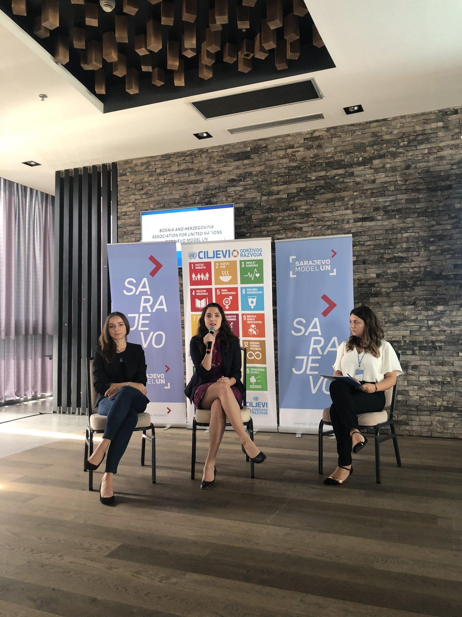 From left to right:  Dafina Peci, Western Balkans Youth Cooperation Platform  Sabina Carli, Former UN Youth Delegate of Slovenia  Meliha Muherina, Vice-President, Bosnia and Herzegovina Association for United Nations