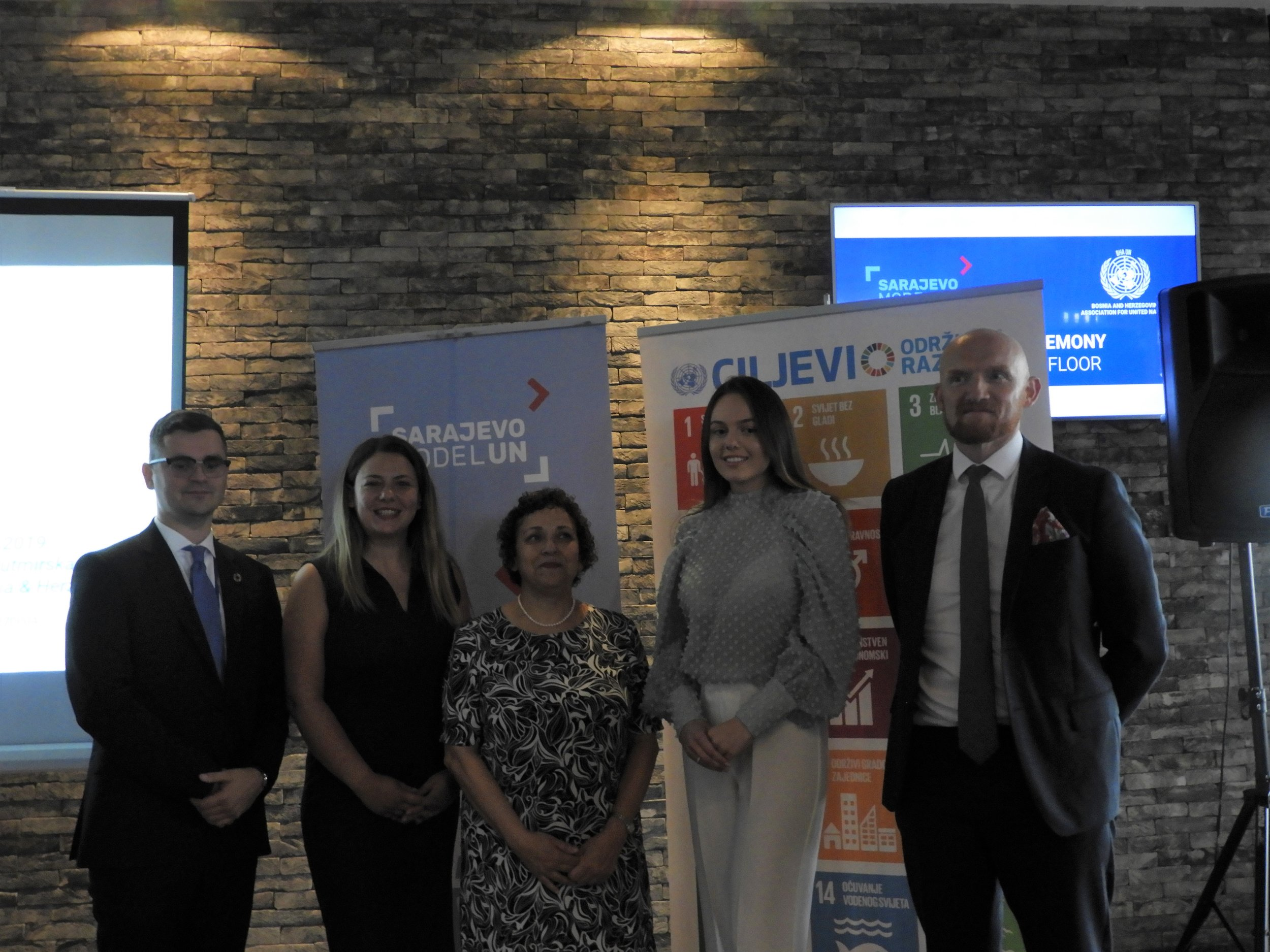 Representatives of BHA UN with H.E. Ms. Sinanoglu, H.E. Mr. Field and Sarajevo Model UN '19 Secretary-General Ms. Hasanović