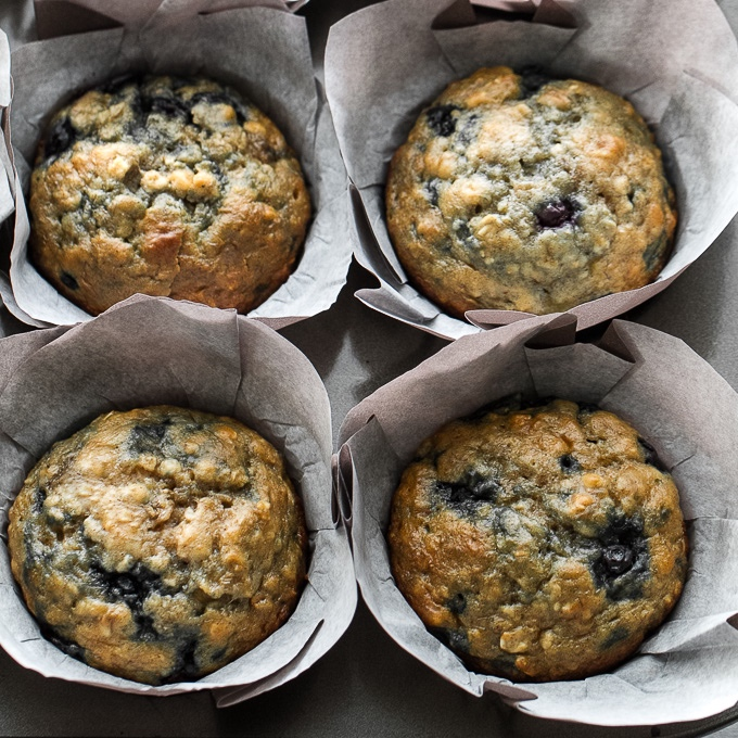 One bowl Blueberry Banana Muffins - quick, easy and incredibly deliciousrunningwithspoons.com