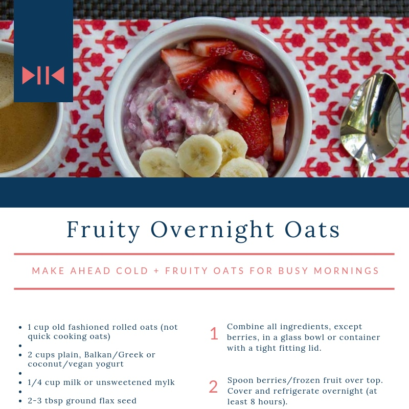 Fruity Overnight Oats - Make-ahead cold + fruity oats for busy mornings.