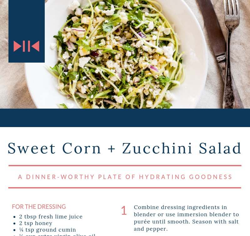 Sweet Corn + Zucchini Salad - a dinner worthy plate of hydrating goodness