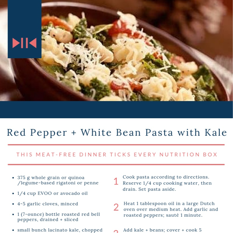 Red Pepper + White Bean kale Pasta - this meat free dinner ticks every nutrition box
