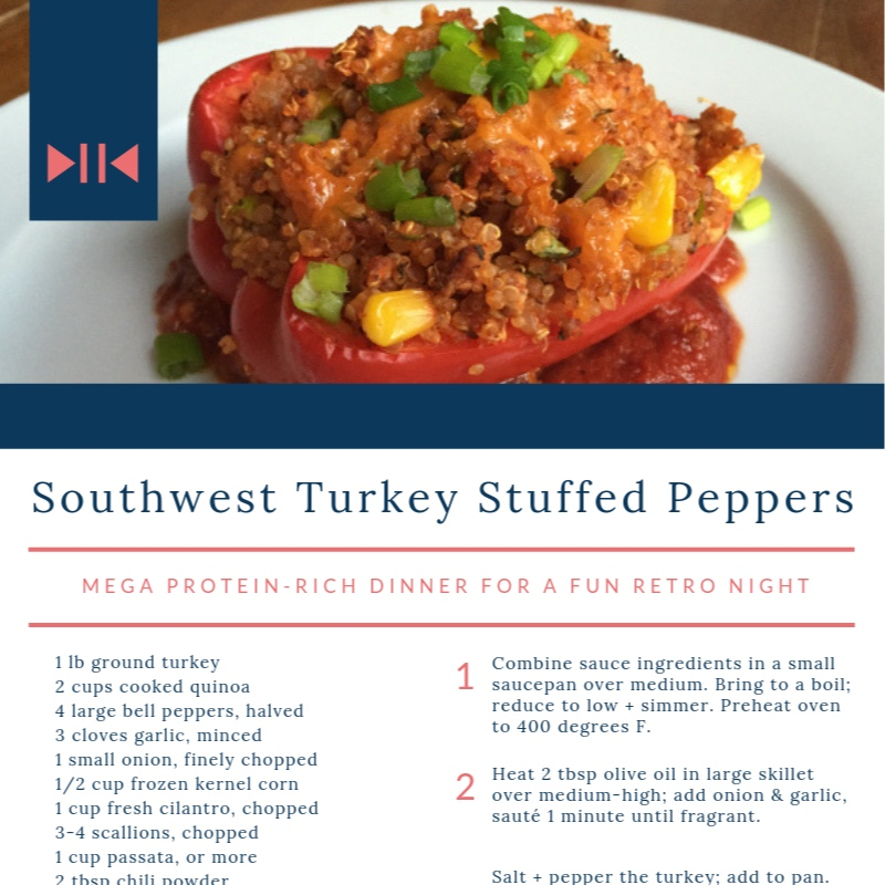 Turkey + Quinoa Stuffed peppers - this fun, retro main is a protein-rich meal-in-one