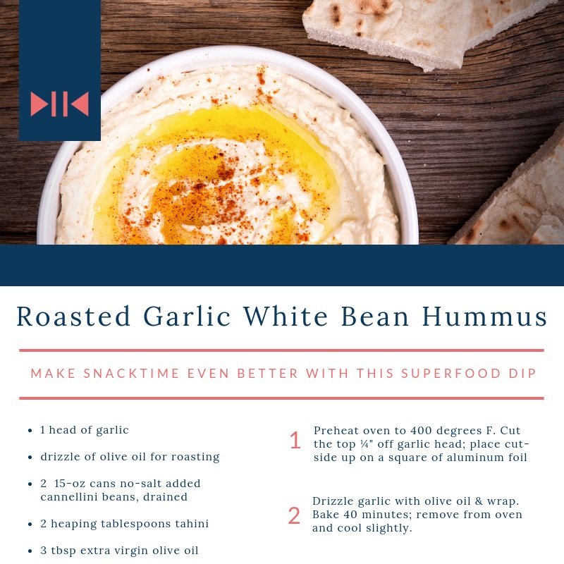 White Bean + Garlic Hummus - this superfood dip makes snacktime even better