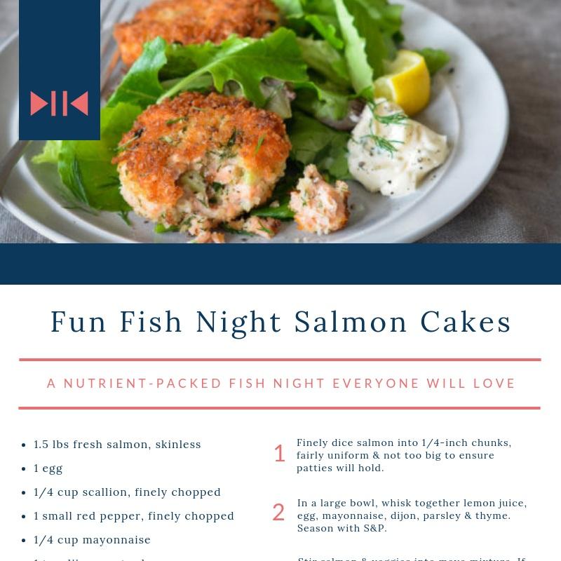 Fun Fish Night Salmon Cakes - a nutrient packed fish night everyone will love
