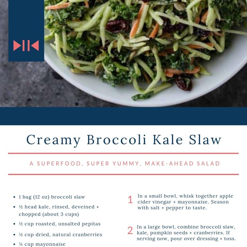 Creamy Broccoli Kale Slaw - a hearty, superfood, super-yummy salad
