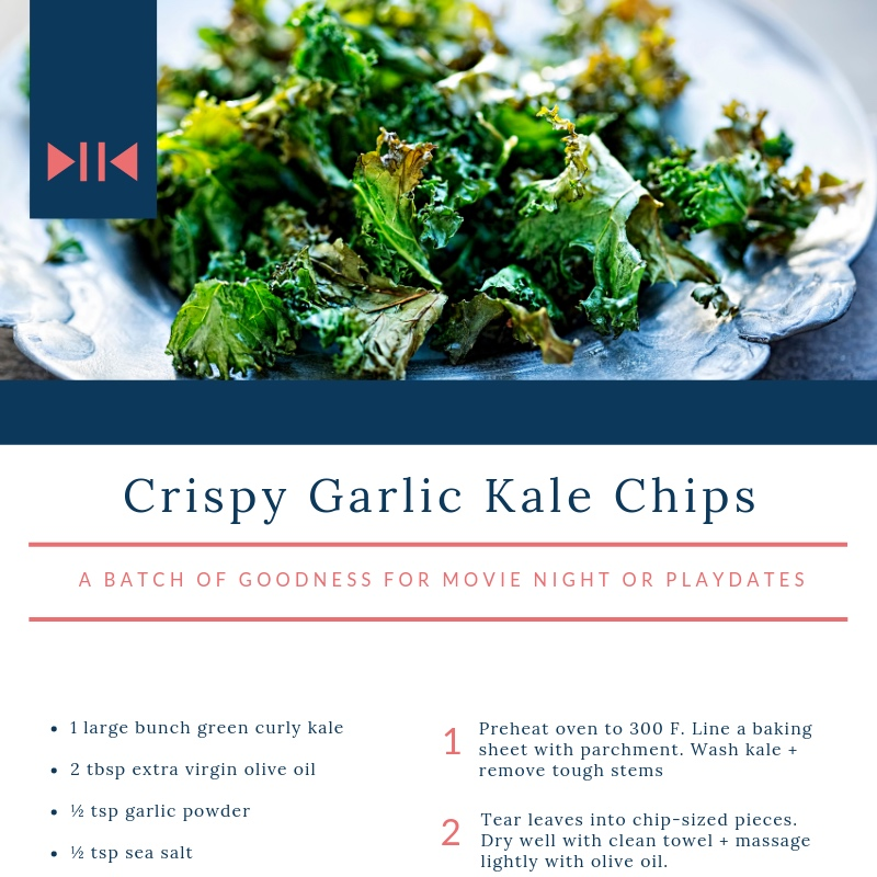 Crispy Garlic Kale Chips - crispy goodness for parties + playdates
