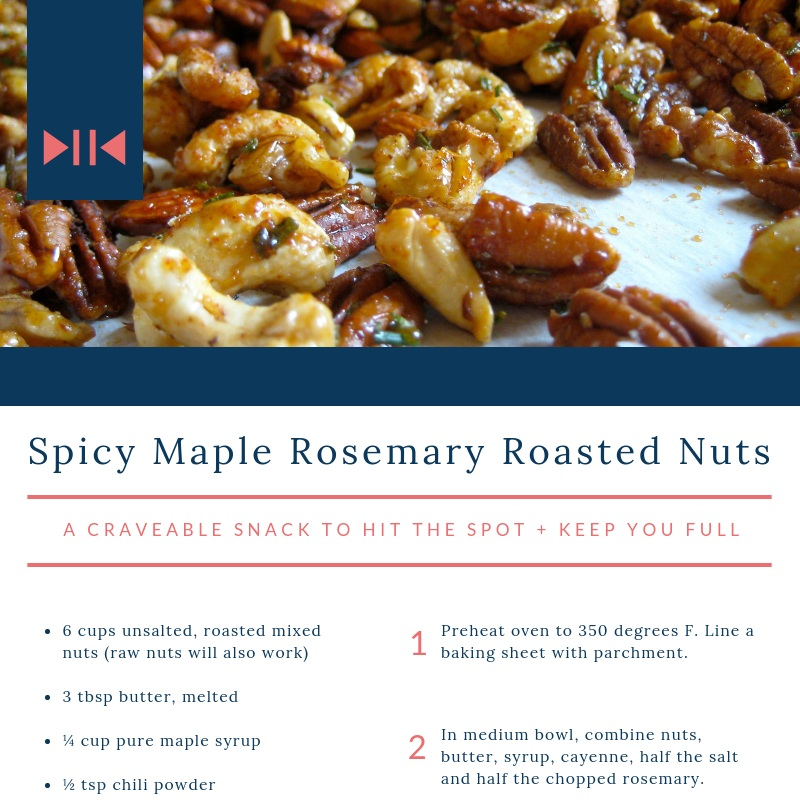 Spicy Maple Rosemary Roasted Nuts - a craveable snack to hit the spot + keep you full