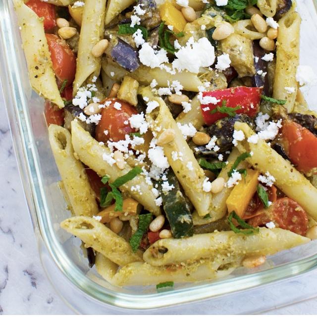 Mediterranean Pasta salad - fill up on healthy veggies, feta + pine nutsscrummylane.com