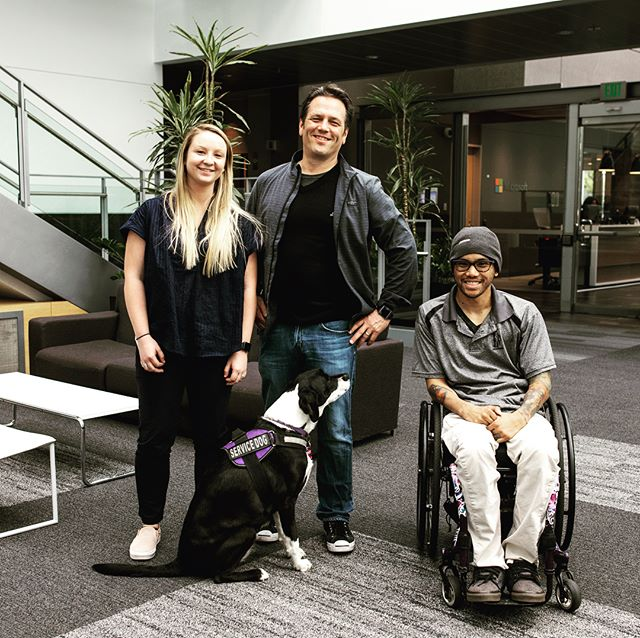@mikethequad and @kynnjones we're fortunate enough to meet @xboxp3 (Phil Spencer) while at @xbox studios last week! #XboxAdaptiveController #Xbox #InclusiveTechLab #GamingforEveryone #accessiblegaming #occupationaltherapy #inclusivedesign