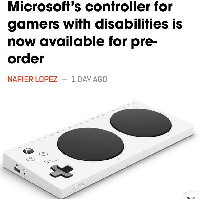 Big news everyone: the new #XboxAdaptiveController that we helped to develop is now officially available for pre-order! Need plug-ins, joysticks or switches for play now that your order is in? Check out our website for peripheral hardware for use with your new XAC! #accessiblegaming #gamingforeveryone #adaptivetechnology  https://thenextweb.com/gaming/2018/06/11/microsofts-controller-for-gamers-with-disabilities-is-now-available-for-pre-order/?amp=1