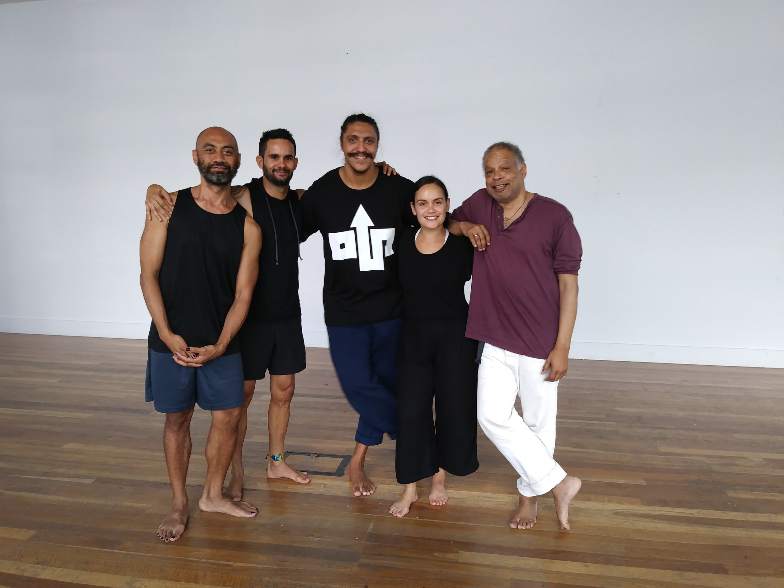 dancer/choreographer/performance makers of indigenous and First Nations heritage  ,  Ishmael Houston-Jones led workshop in Sydney, Australia   Pictured: Brian Fuata, Glen Thomas, Thomas E S Kelly, Taree Sansbury, 2017    photographer unknown