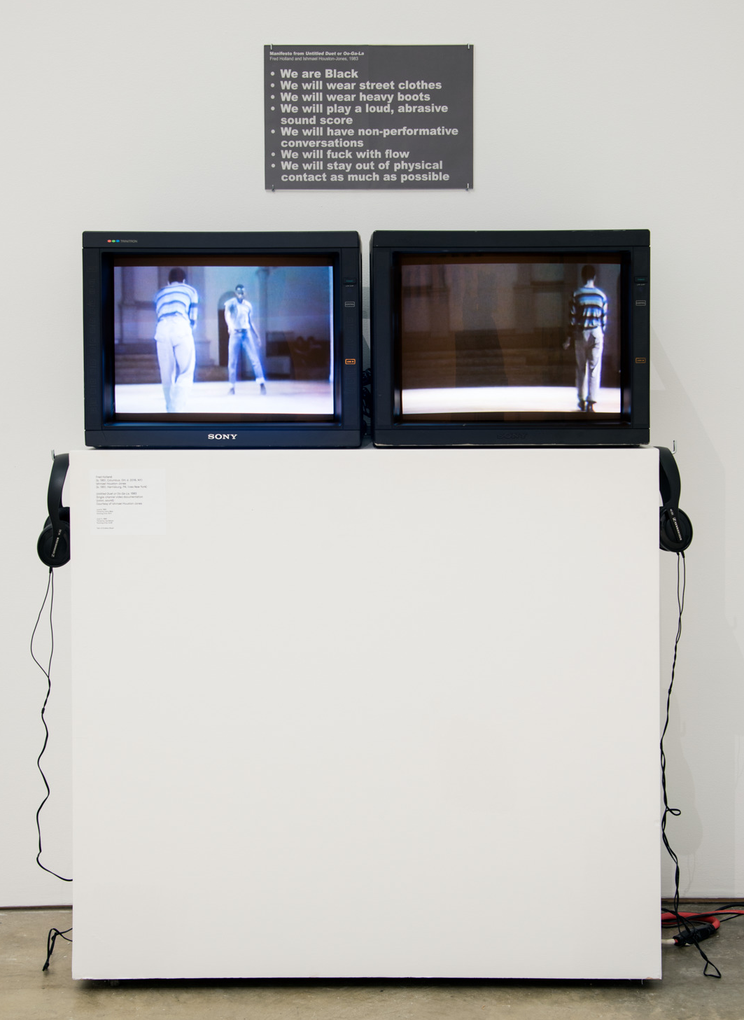 2 videos plus Manifesto: Installation at the Institute for Contemporary Art, Philadelphia, 2017. Fred Holland and IH-J performance at Contact at 10th and 2nd, Danspace Project 1983.   Videos by Cathy Weis and Lisa Nelson, photographer unknown