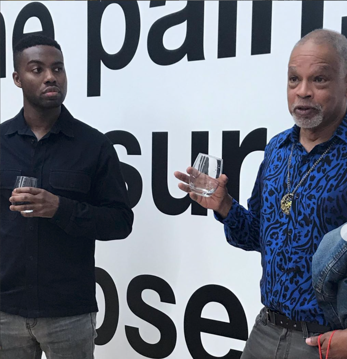 Adam Pendleton and Ishmael Houston-Jones answer questions after a screening of Pendleton's  Ishmael in the Garden  December 2018.   Photo courtesy Danspace Project