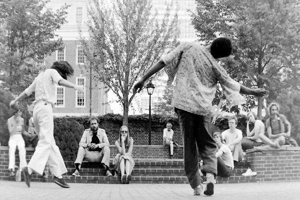 Ishmael Houston-Jones and Terry Fox improvising near Independence Hall, Philadelphia, 1970s.   Photo: Helen Jones