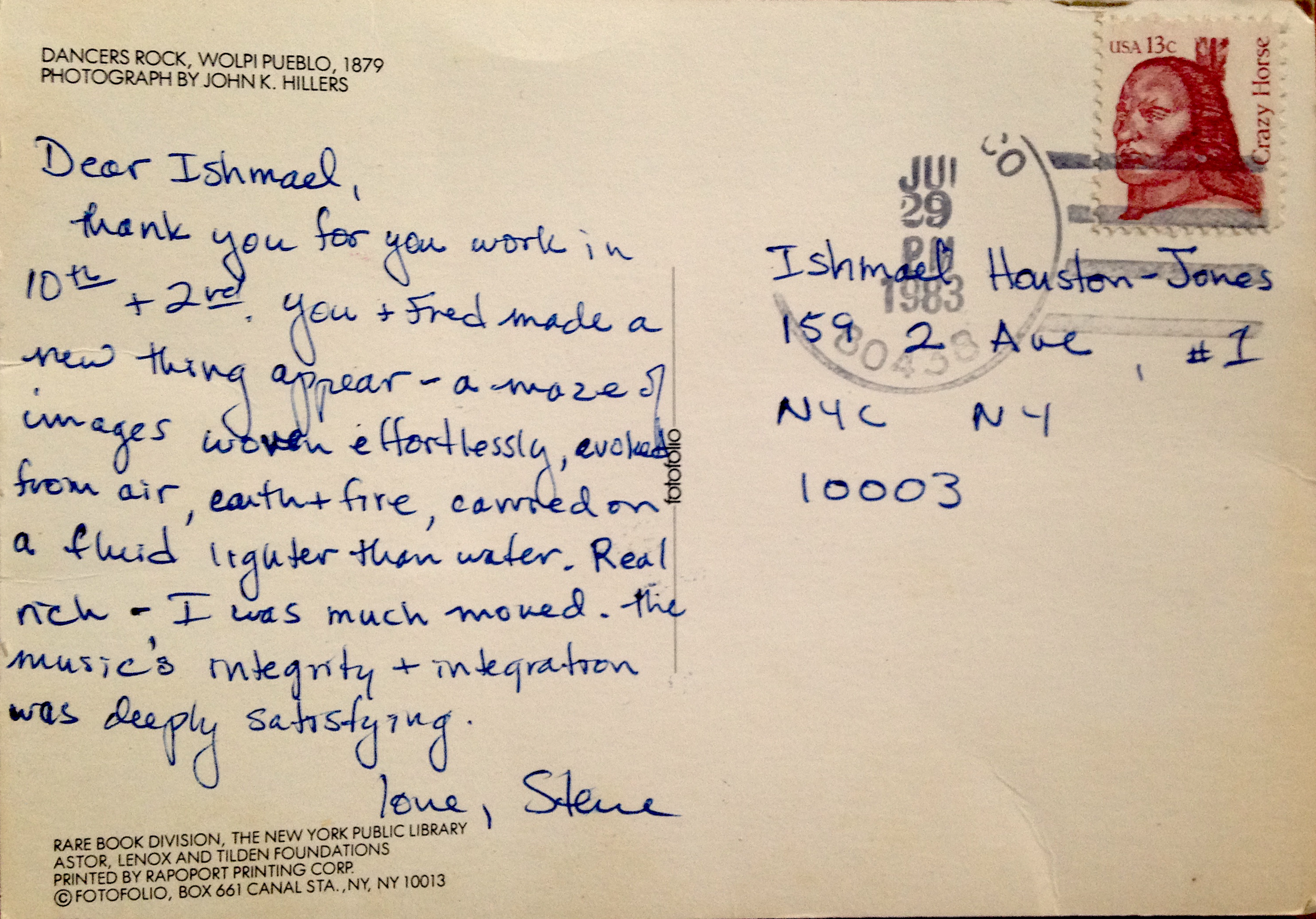 "Steve Paxton sent this postcard on June 29, 1983 after Fred Holland and Ishmael Houston-Jones had performed their  Untitled Duet , sometimes called  Oo-Ga-La  on the ""Partners"" program at Contact at 10th and 2nd Festival at Danspace Project."