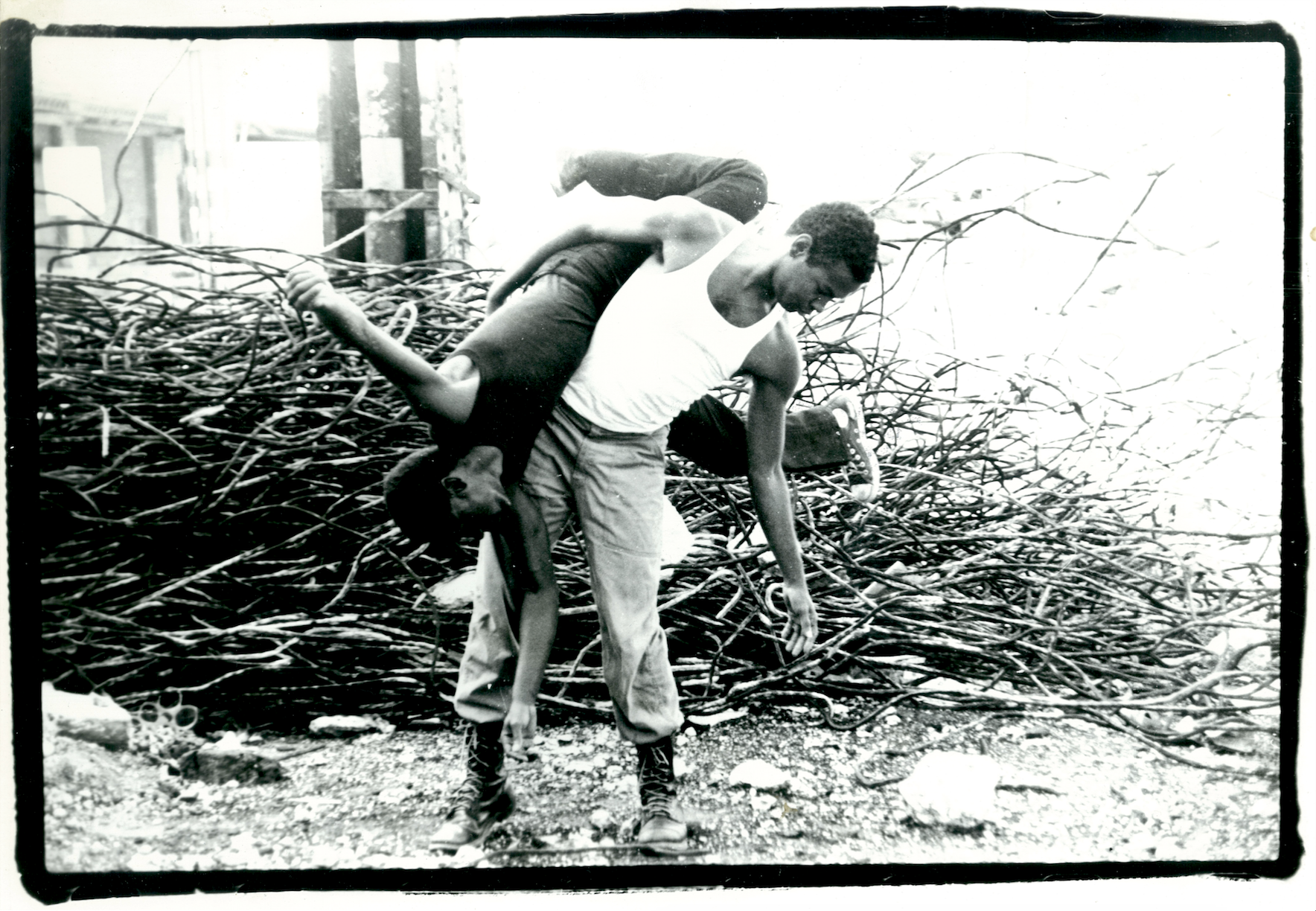 Publicity photograph for Fred Holland and Ishmael Houston-Jones's  Babble: First Impressions of the White Man , Dance Theater Workshop, 1983.   Photo: Pamela Moore