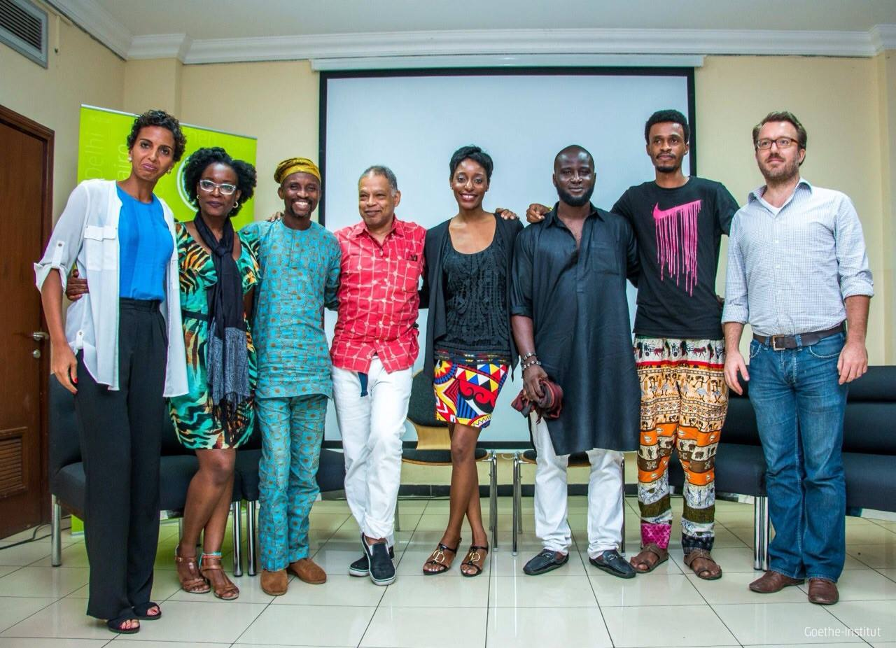 In spring 2015 Ishmael Houston-Jones took part in a  Pecha Kucha  in Lagos, Nigeria sponsored by the Goethe Institute. Artists from left, Yetunde Babaeko, Peju Alatise, Jelili Atiku, IH-J, Zemaye Okediji, Pwavido Mathias, Folakunle Oshun and Marc-André Schmachtel, (Goethe Institute).   Photo courtesy of Goethe Institute, Lagos