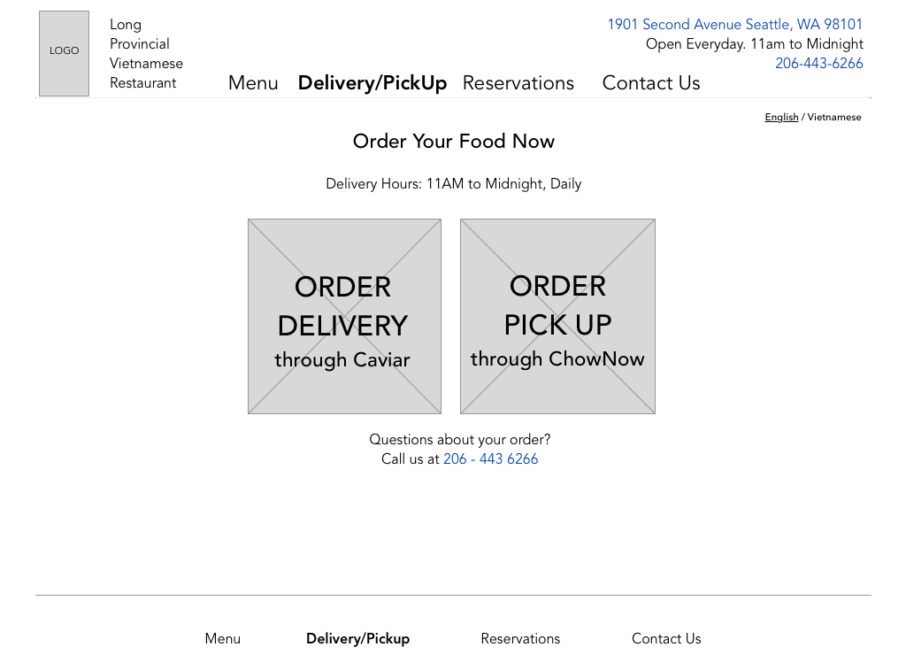 DELIVERY / PICKUP