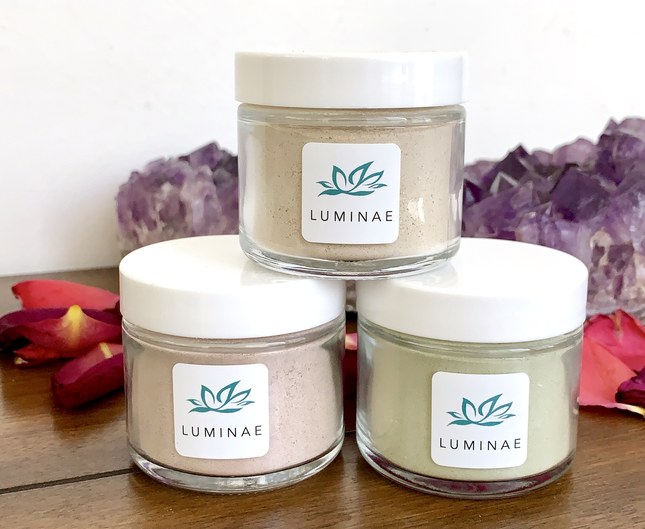 Face Masks - Luminae Face Masks are handcrafted blends using plant botanicals. Each blend is made with the highest quality ingredients and without any fillers, chemical toxins, preservatives, or artificial fragrances. Face Masks help to increase skin brightness, reduce acne, decrease inflammation, clarify the complexion, soften wrinkles, improve elasticity, and enhance skin rejuvenation.