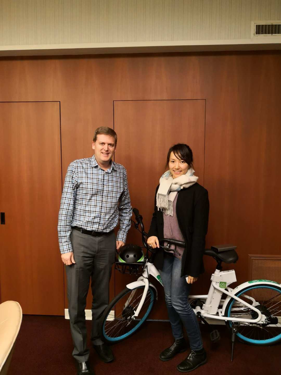 Grace, U-bicycle CEO, with Jonathan Cote, Mayor of New Westminster
