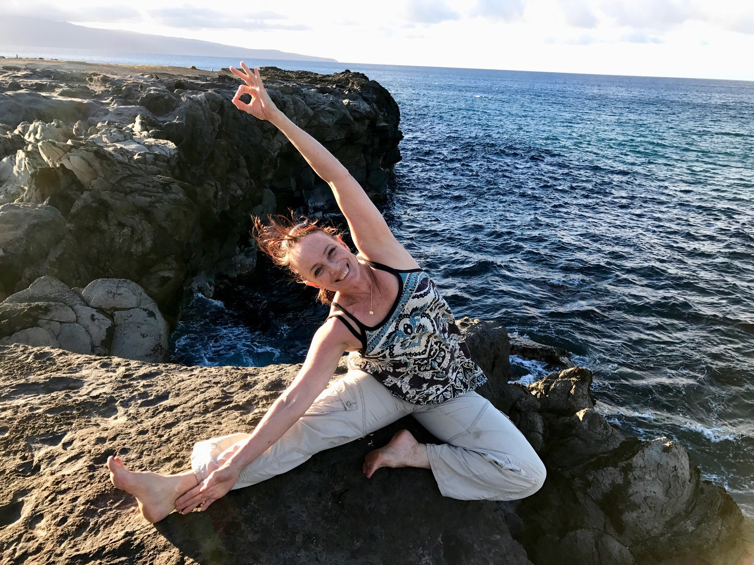 Soaking up the sea breeze at Dragon's Teeth / Makaluapuna Point - West Maui, HI  (Photo by Lydie Baudry)