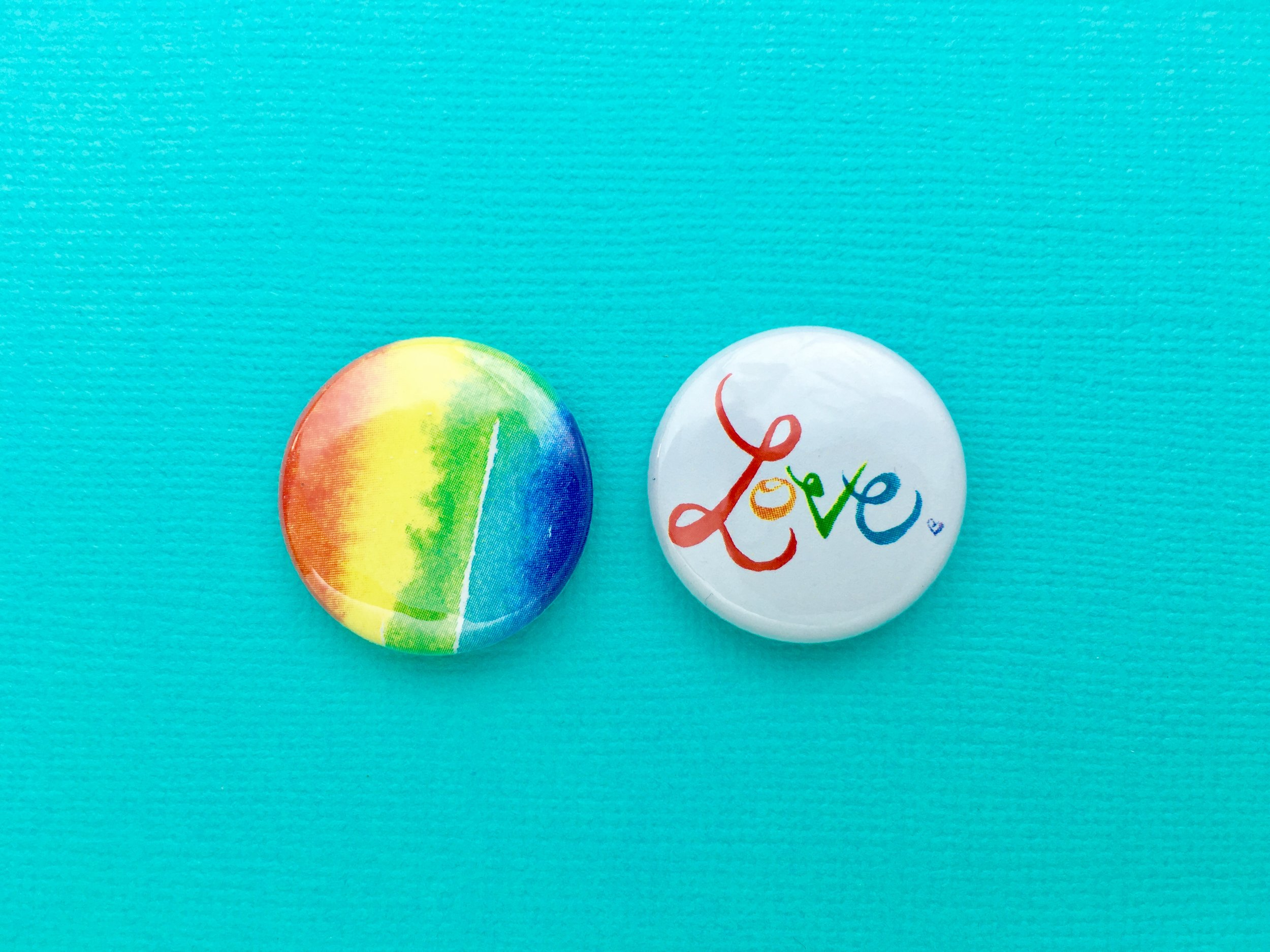 one inch pinback  buttons , based on original  watercolors , set of 2, individually pressed