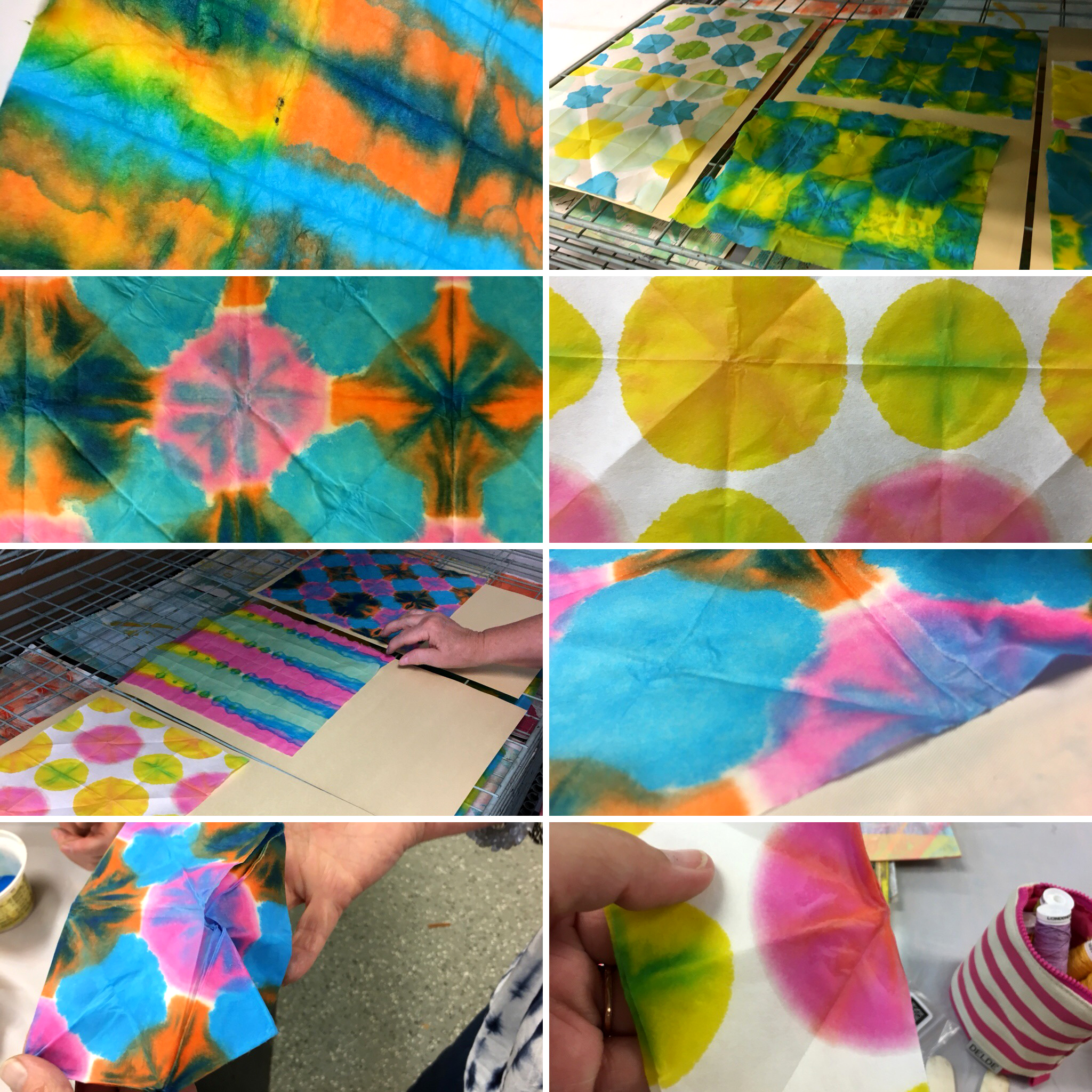 Samples of first-time dip-dye papers in progress