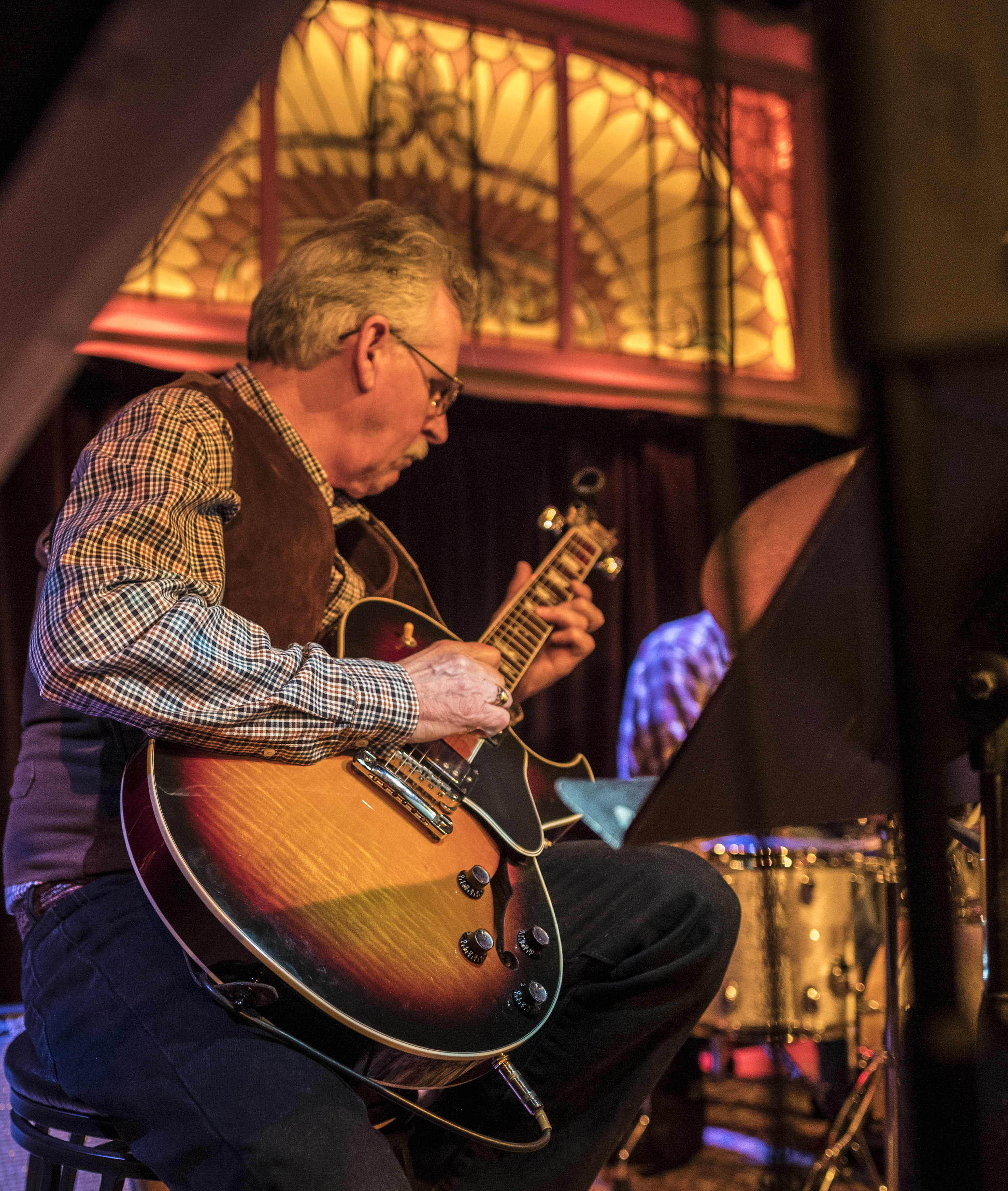 """Stacey Weick   His influences are:Carlos Santana, Eric Clapton, Kenny Burrell,Miles Davis and John Coltrane. Stacey raises horses, but we think he is a """"guitar-whisperer""""as well."""