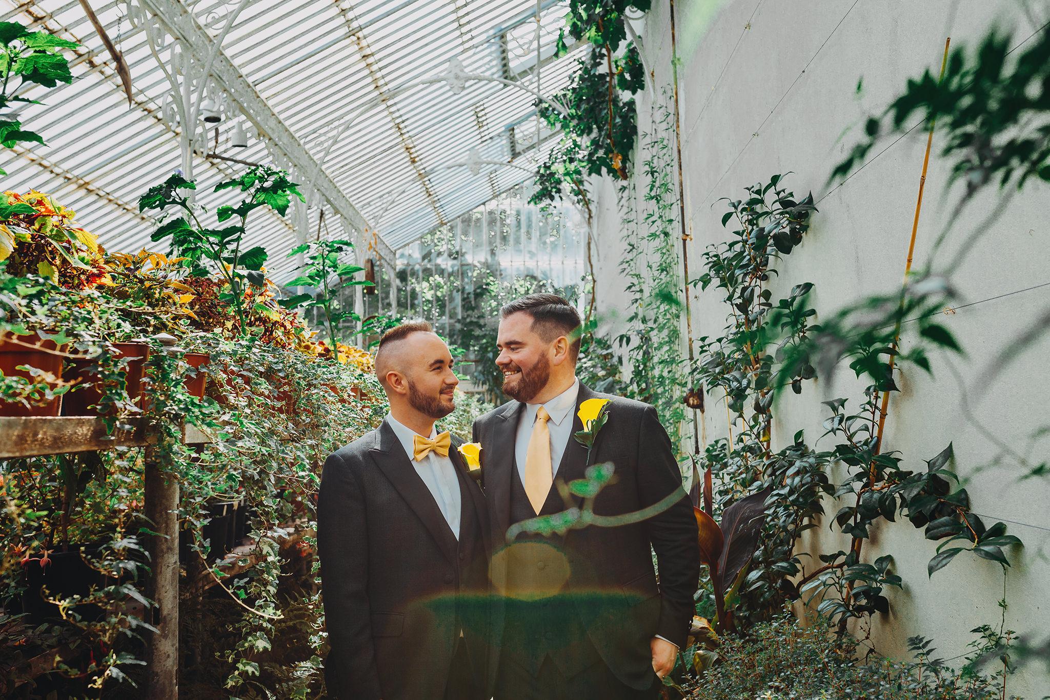lgbt wedding photographers northern ireland botanic gardens belfast greenhouse