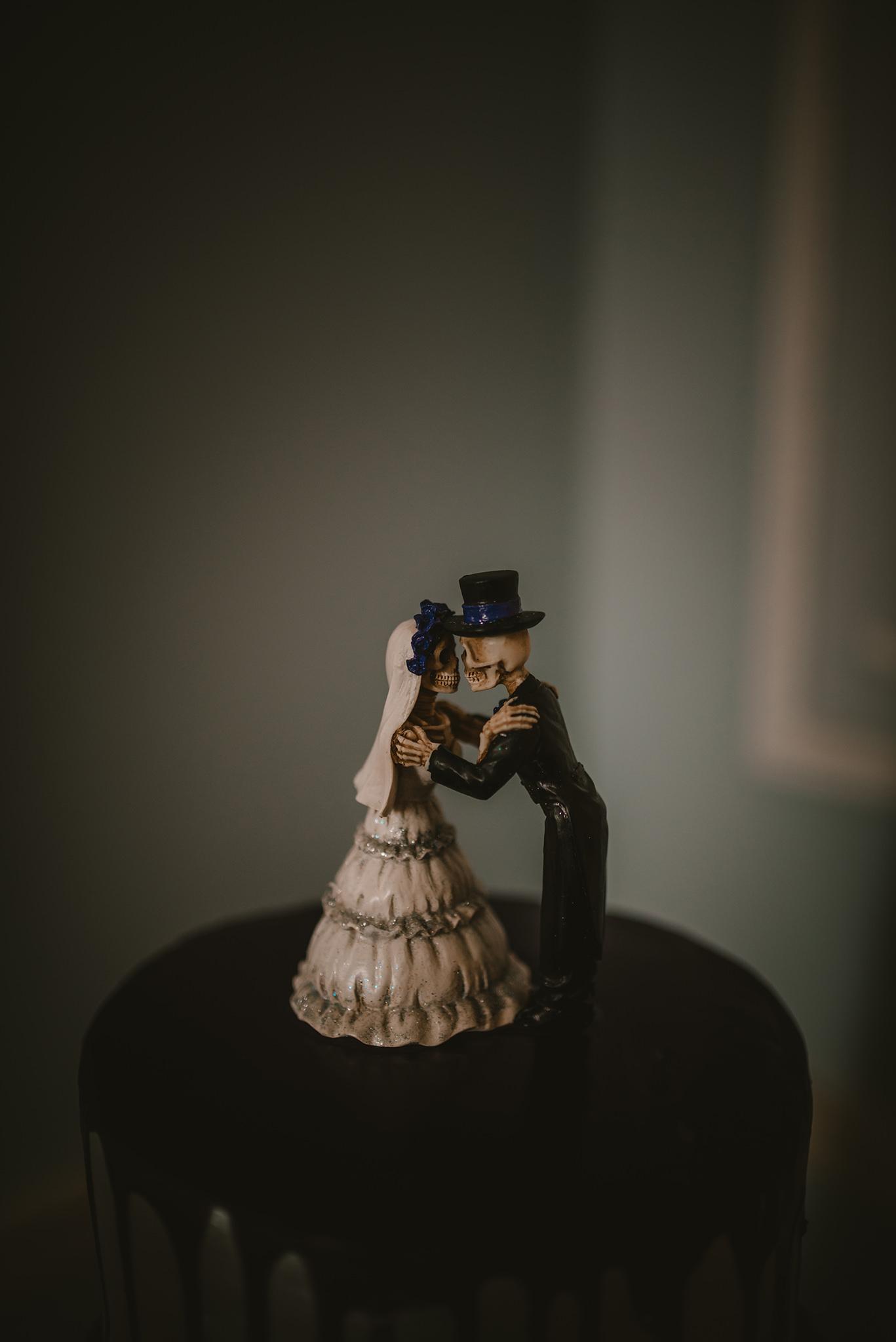 malone house wedding alternative skeleton cake toppers