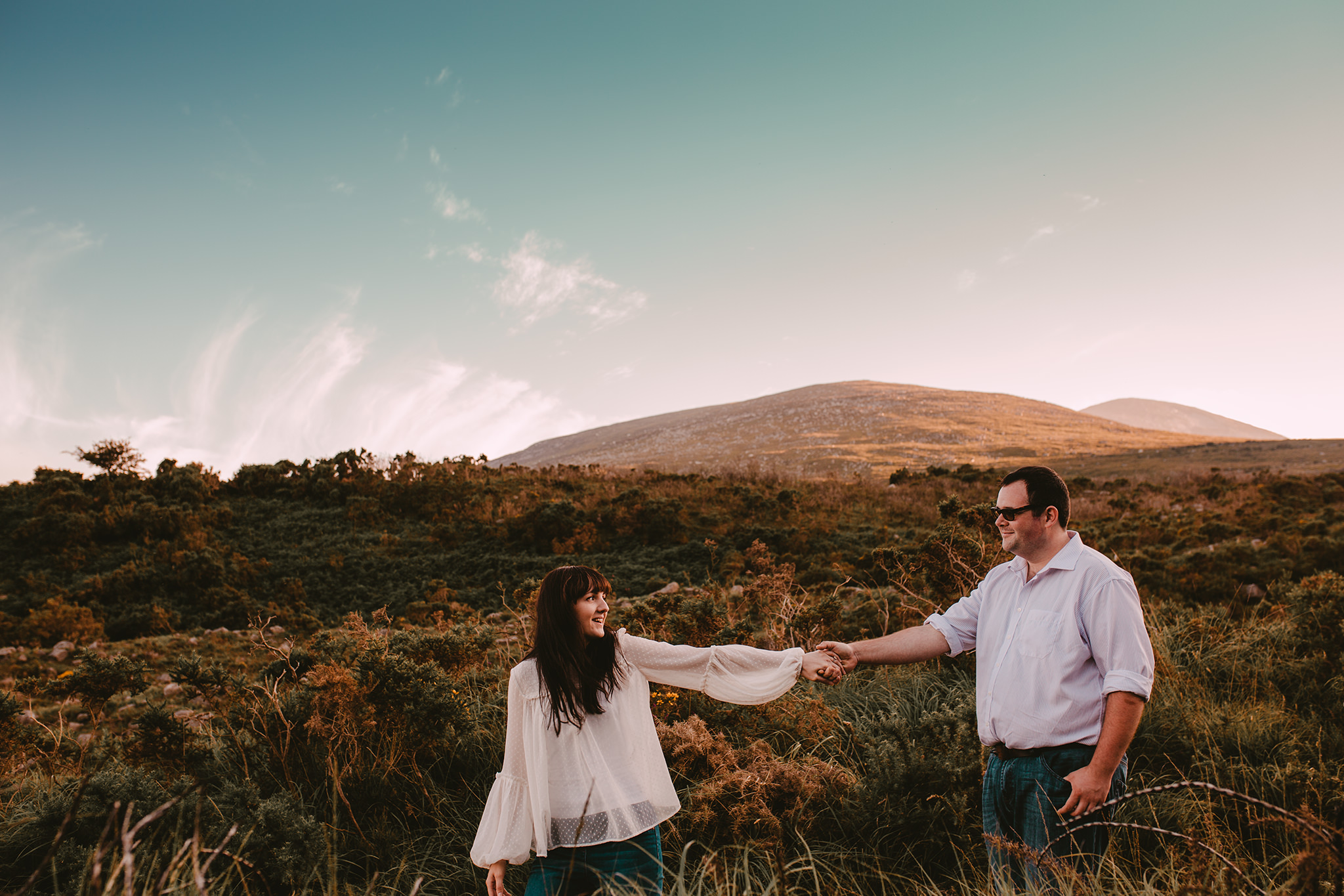 couples adventure engagement session in the mourne mountains, northern ireland