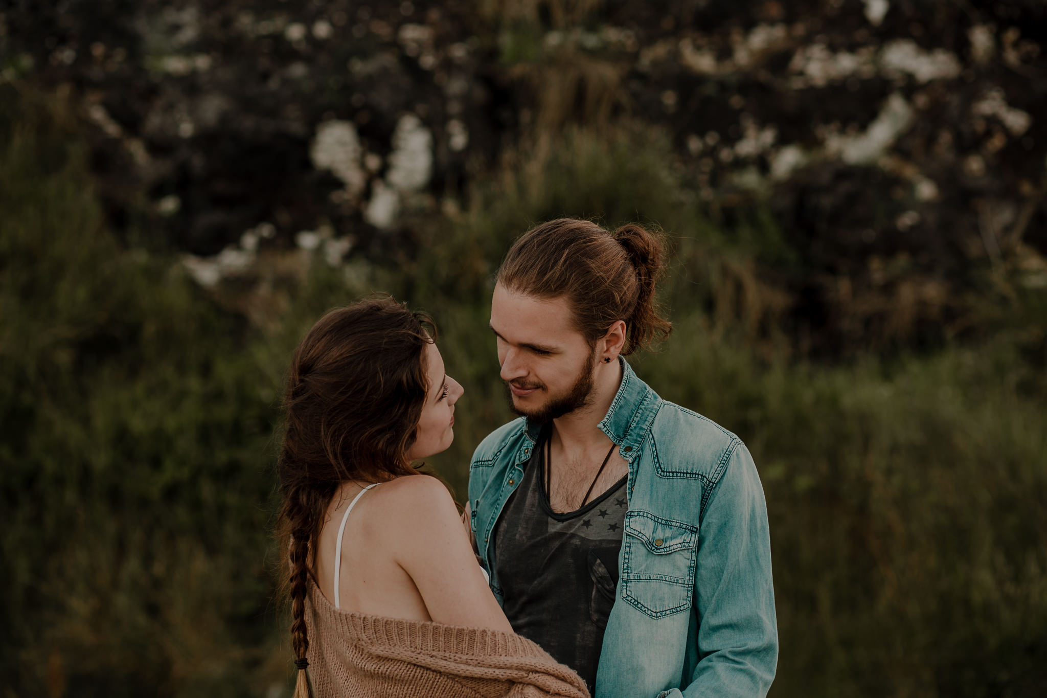 the way they look at each other during an engagement shoot on the causeway coast