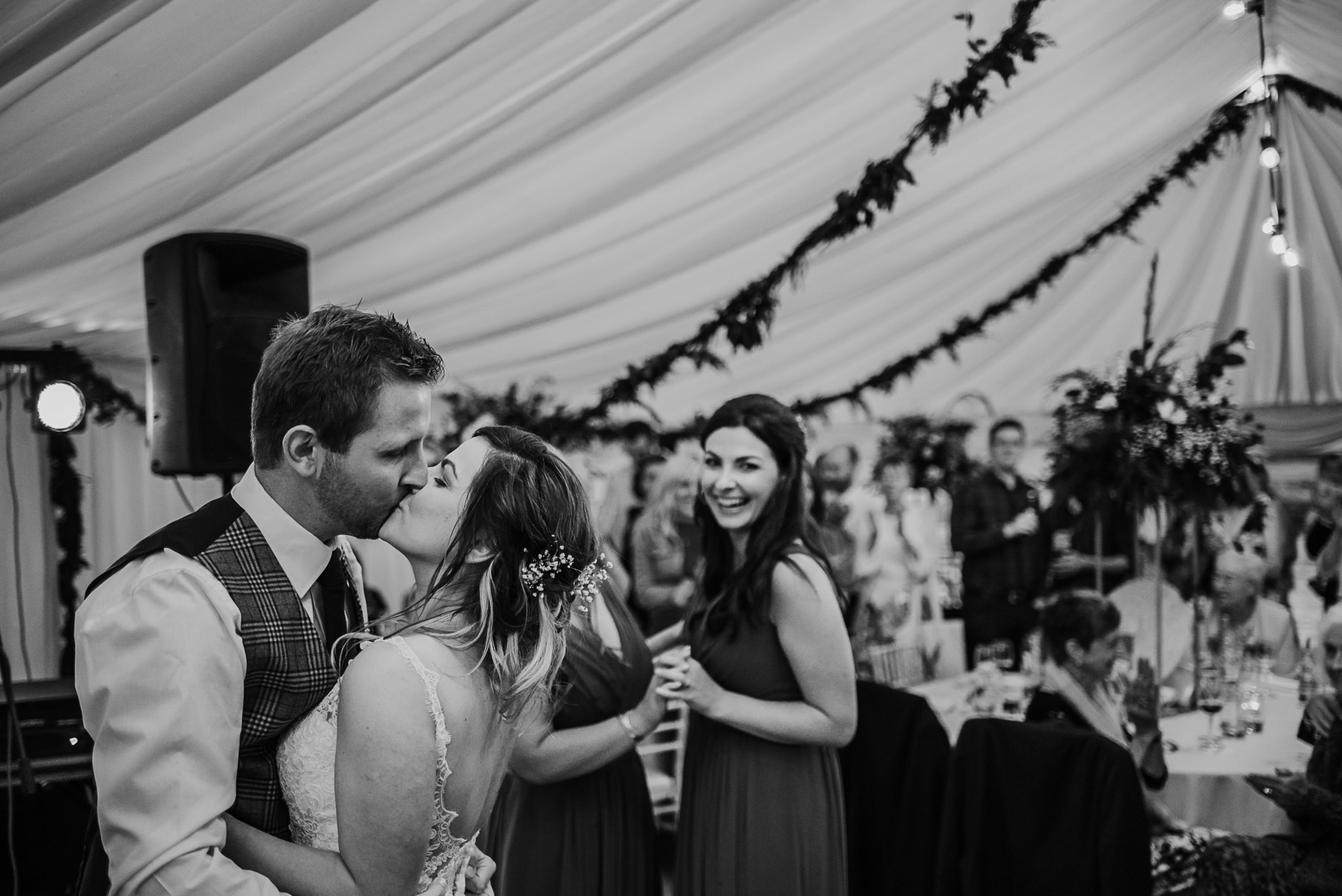 bride and groom kiss after first dance northern ireland