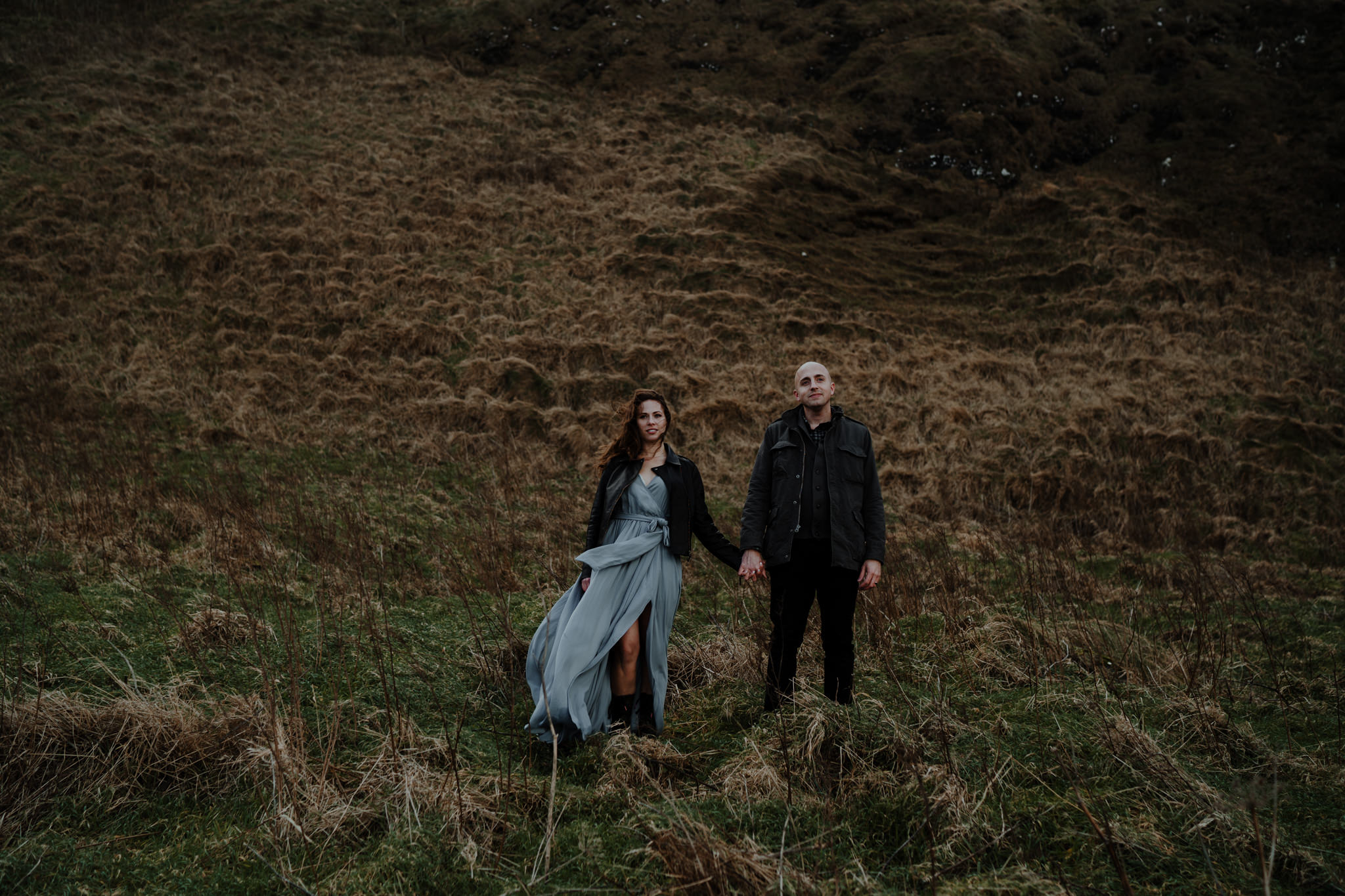 hipster couple kinbane castle adventure elopement