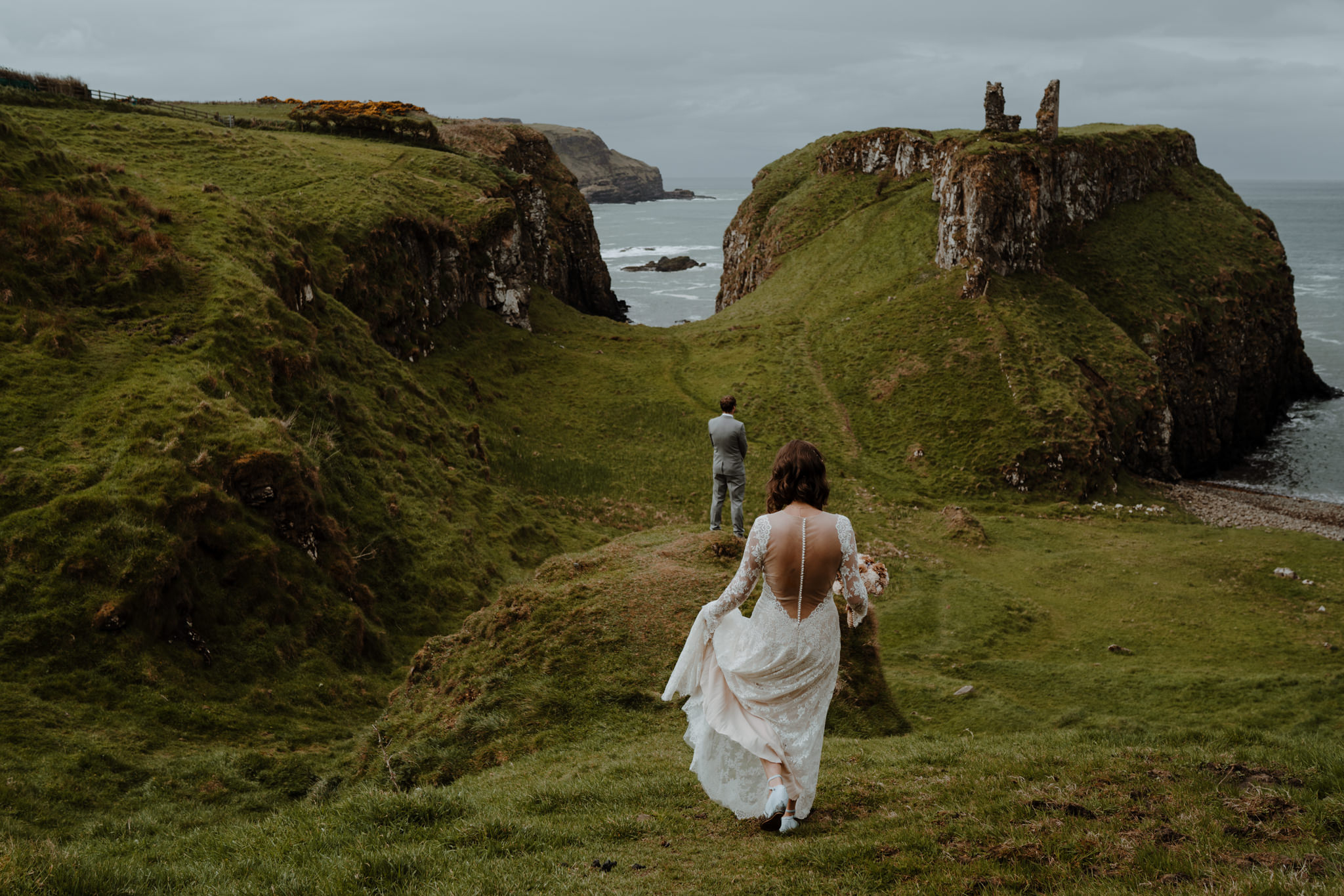 first-look-bride-groom-dunseverick-castle-intimate-elopement