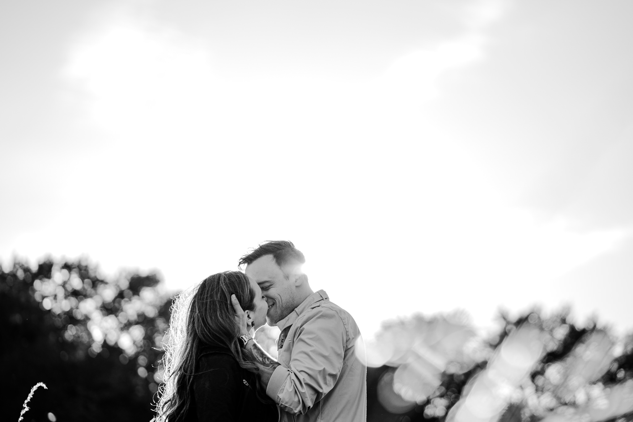 phoenix park engagement session BW sunset