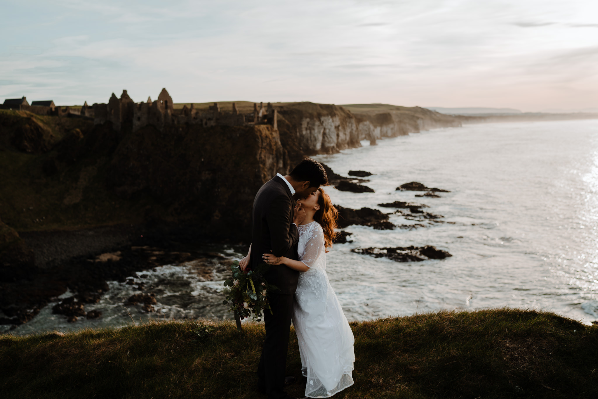 best places to elope in Ireland dunluce castle cliff edge