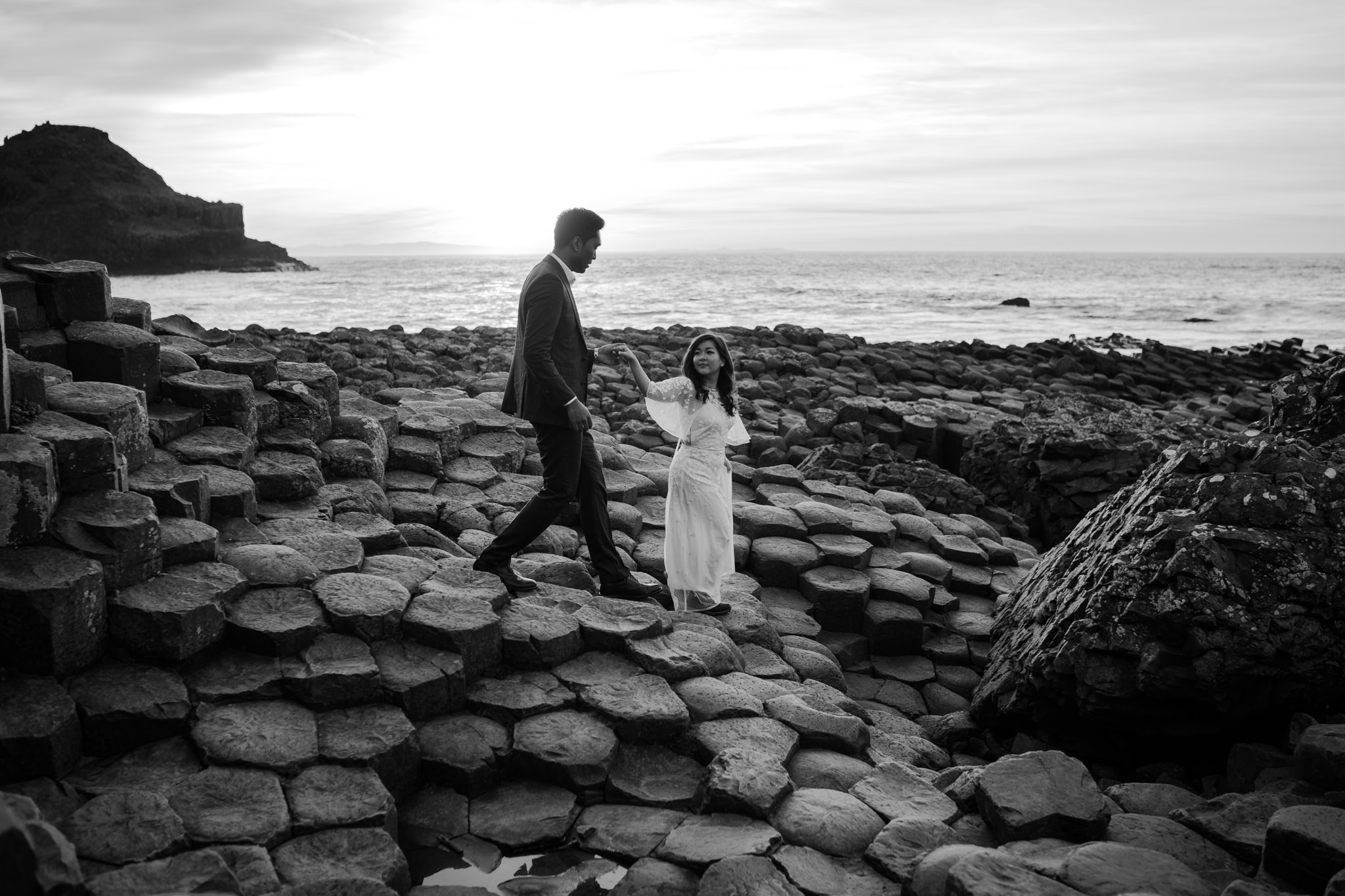 beautiful rock formations on the north antrim coast The giants Causeway couple elopement