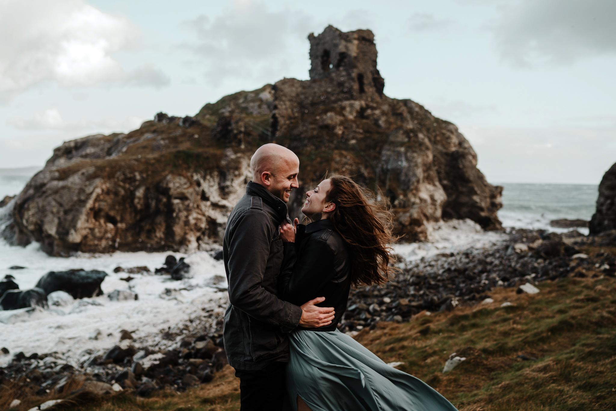epic adventure elopement locations in ireland kinbane castle