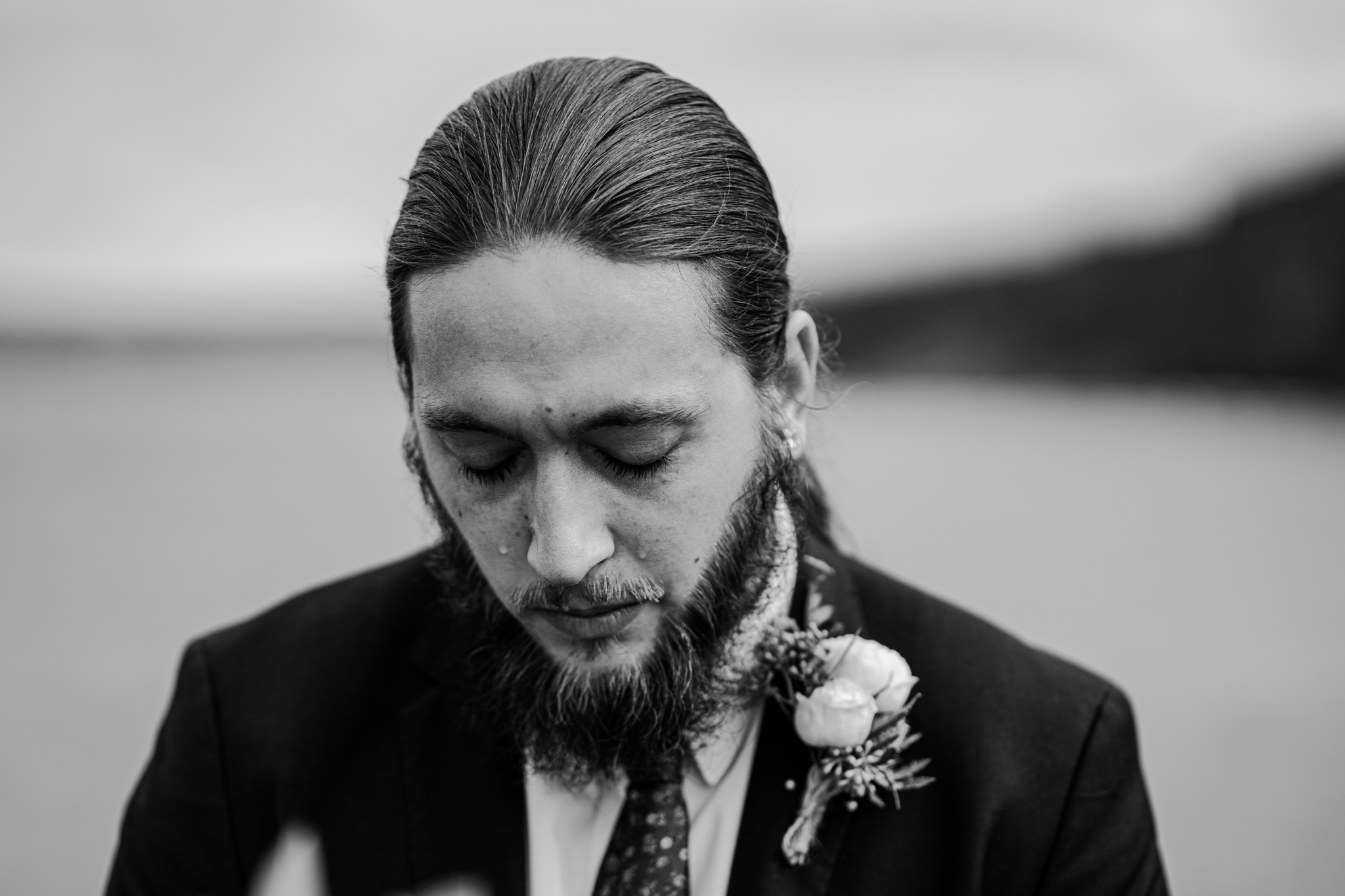 emotional groom personal vows elopement in Ireland