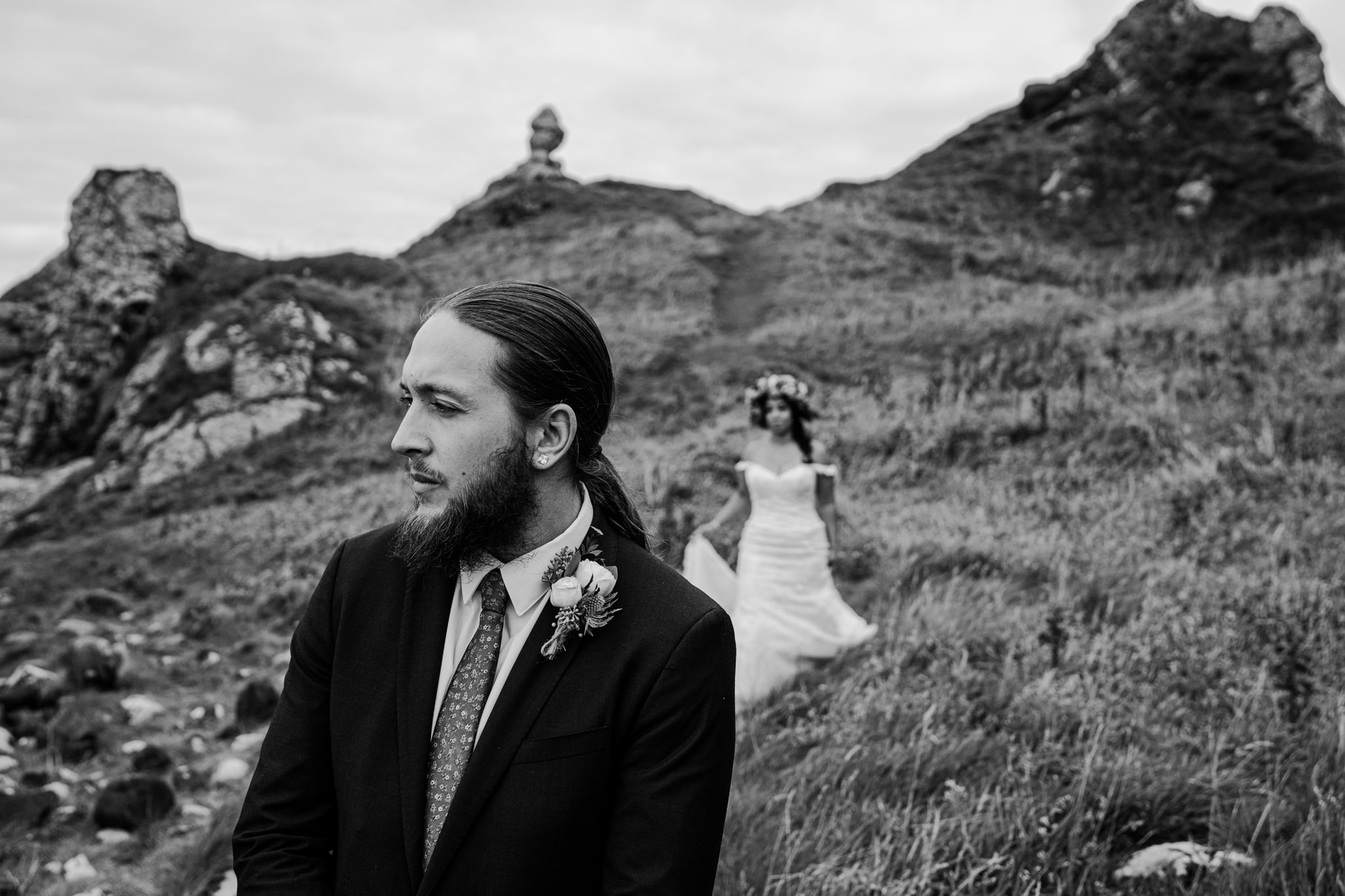 first look for elopement at Kinbane Castle Northern Ireland