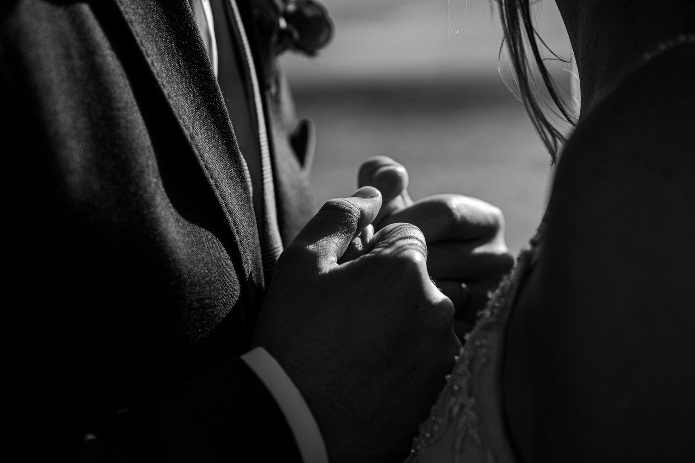 Orangetree House Wedding intimate hands holding bride groom