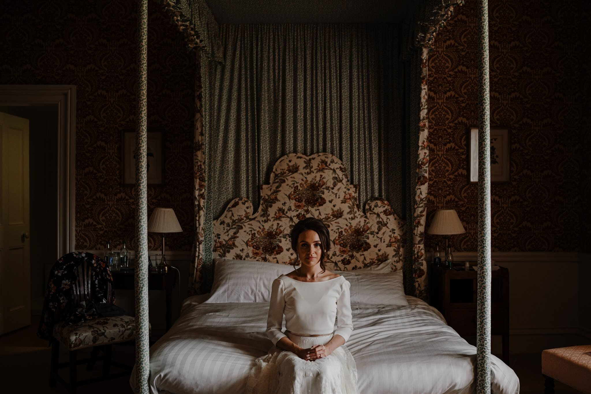 Wes Anderson style bride portrait Charlie bread wedding dress from castle enniskillen