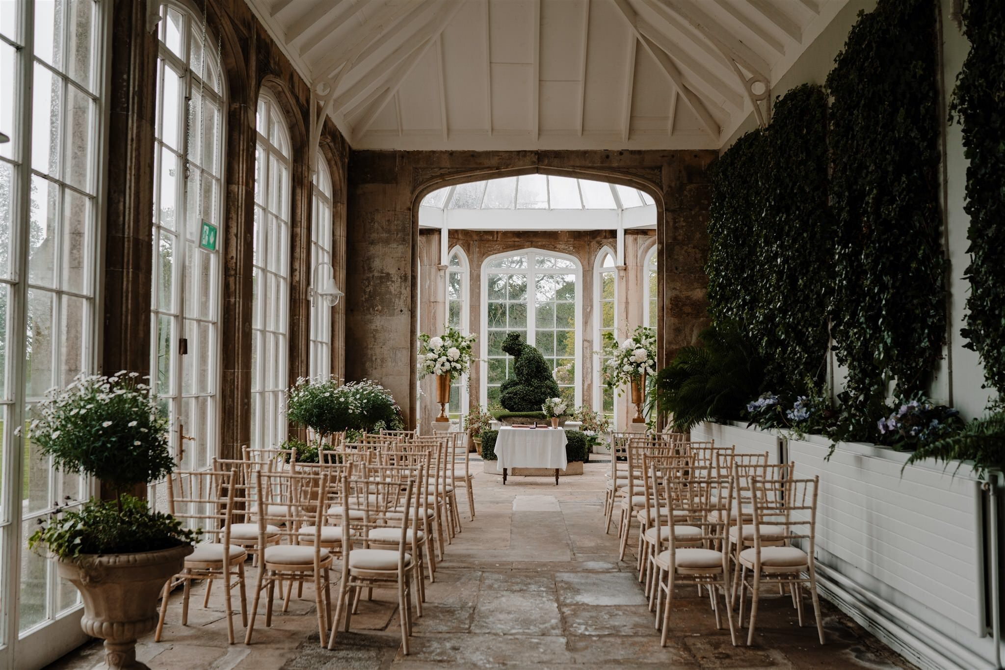 Victorian conservatory from castle west wing intimate wedding