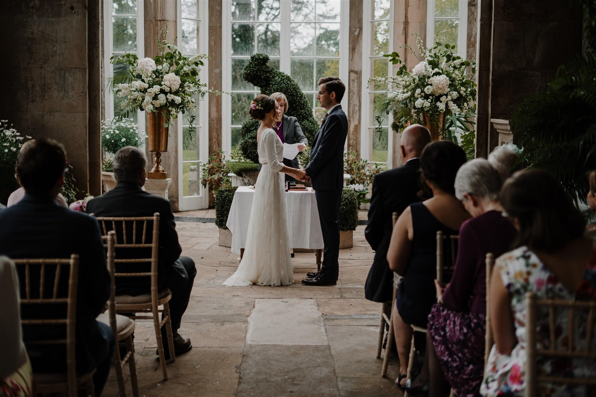 Intimate wedding ceremony west wing crom castle